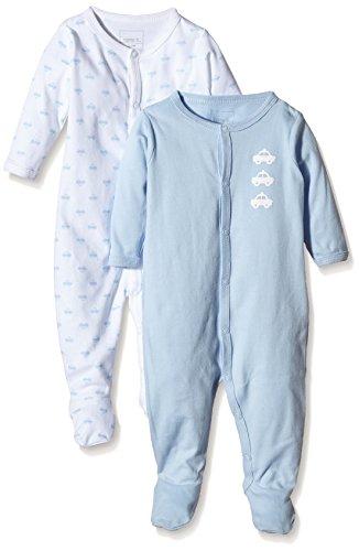 NAME IT NAME IT Baby-Jungen NITNIGHTSUIT W/F NB B NOOS Schlafstrampler, Mehrfarbig (Cashmere Blue), 56 (2er Pack)