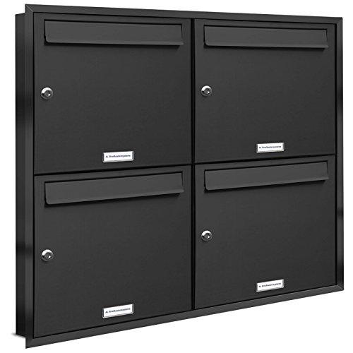 AL Briefkastensysteme, 4er Unterputzbriefkasten in Anthrazit Grau RAL 7016, Briefkastenanlage 4 Fach, Postkasten modern