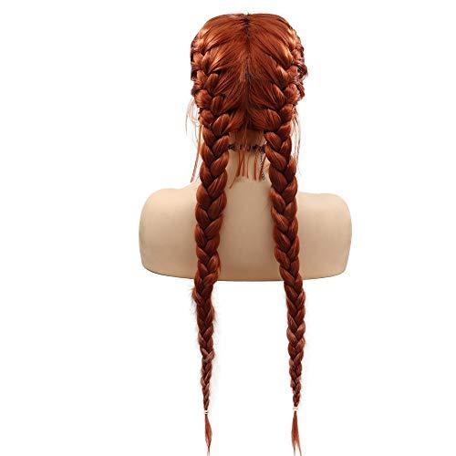 SereneWig Koper Rood Dubbele Vlechten Pruiken met Baby Haar Natuurlijke 360 # Donker Oranje 2x Twist Gevlochten Synthetische Kant Voor Pruik Party Wear