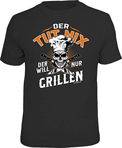Männer Geschenk Grill BBQ T-Shirt: Der TUT nix - Der Will nur Grillen!, Schwarz, XL