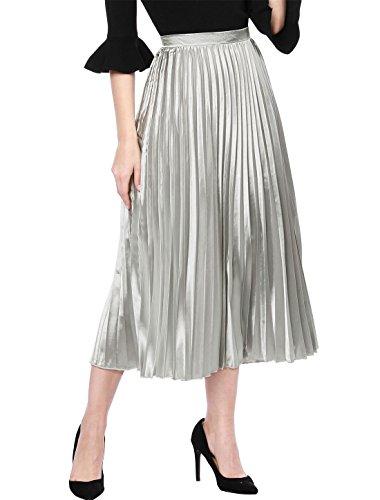 Allegra K Women's Zip Closure Party Accordion Midi Metallic Pleated Skirt Small Silver Tone