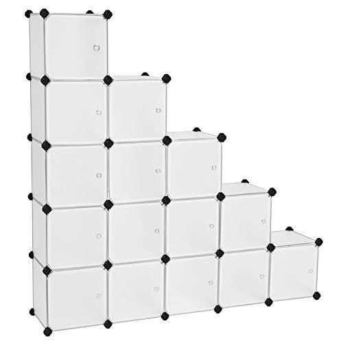 SONGMICS 16 Würfel DIY Regalsystem Kleiderschrank aus Kunststoff mit Türen in modischem Weiß stabil und einfach zu montieren, Steckregal, LPC44BS
