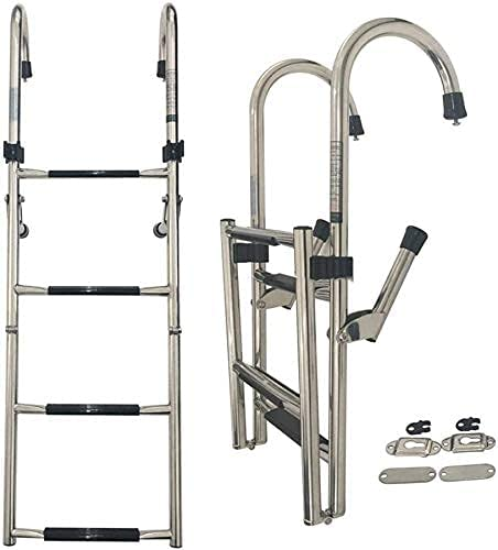 GCCBQM 4 Step Ladder Excellent Marine Sales Foldable Steel Stainless Boat