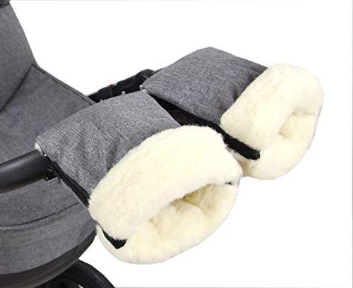 BabyLux Handmuff für Kinderwagen Buggy MUFF Reißverschluss Handwärmer Handschuhe (MR55 Grau55 + Wolle)