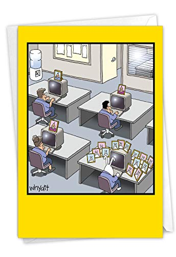 NobleWorks, Rabbit Worker - Funny Birthday Card for Coworker, Employees - Cartoon Bunny, Family Humor Card for Birthdays C3349BDG