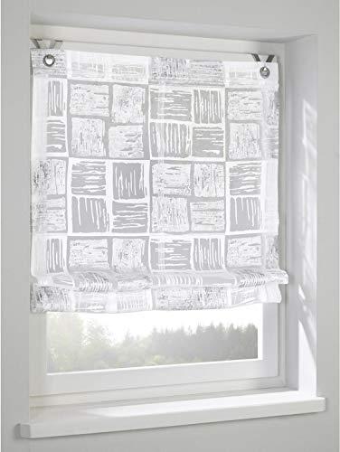 Kutti Raffrollo Ösenrollo Tiziano Weiss grau transparent Breite 100 x Höhe 130 cm