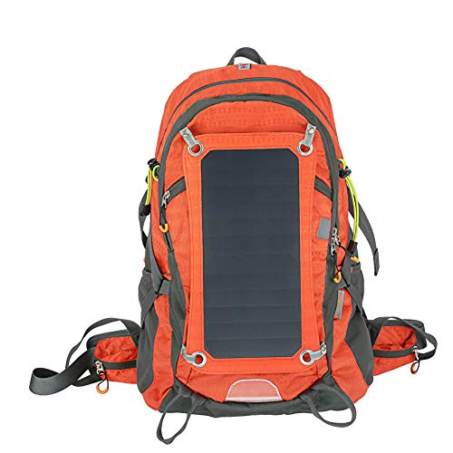 Solar Backpack With Usb Charging Port Daypack 1.8l Hydration Bag Removable Sun Panel Emergency For Camping Outdoor Sports Waterproof Power Bank-orange-onesize