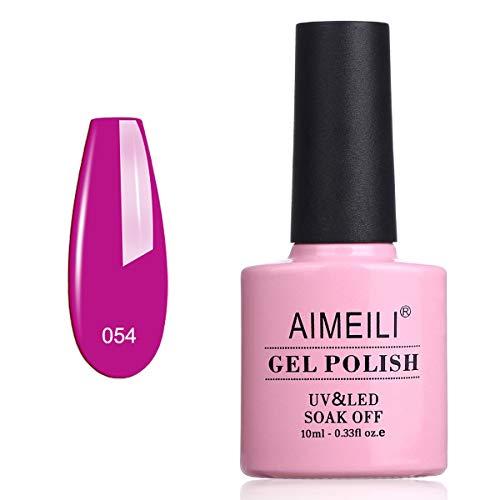 AIMEILI Smalti per Unghie Colori Smalto in Gel Fluo Semipermanente UV LED Soak Off - Neon Purple Grape (054) 10ml