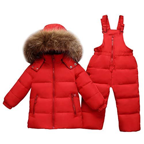 LSHEL Kinder Mädchen Schneeanzug Jungen Skianzug Daunenjacke mit Künstliches Fell Kaputze Winterjacke Mit Daunenhose Bekleidungsset Snowsuit 2tlg, Rot, 104-110