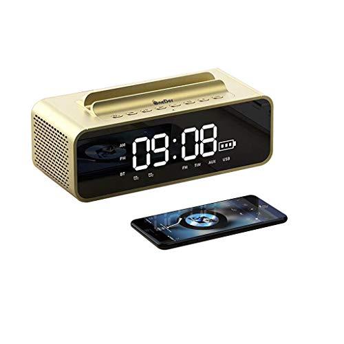 Radio Controlled Lcd Desk Clock Digitale wekker, sluimerfunctie, ondersteuning voor handsfree, mobiele telefoonhouder en bluetooth-luidspreker goud