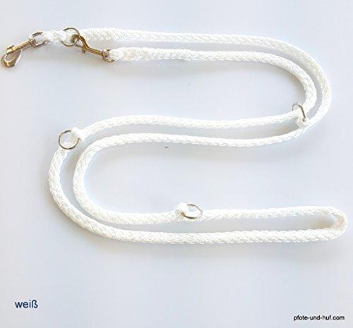elropet Hundeleine Doppelleine weiß 2,00m u. 2,40m 3fach - 2,80m 4fach verstellbar Umhängeleine (2,80m)
