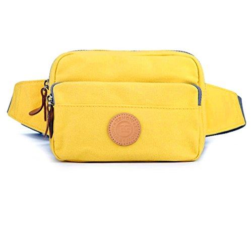 Eshow Borsa marsupio di tela da donna da viaggio giallo