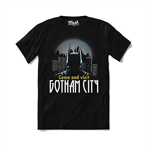 MUSH T-Shirt Come And Visit Gotham City Batman - Cartoni Anni 90 - Film - 100% Cotone Organico, Large Uomo, Nero