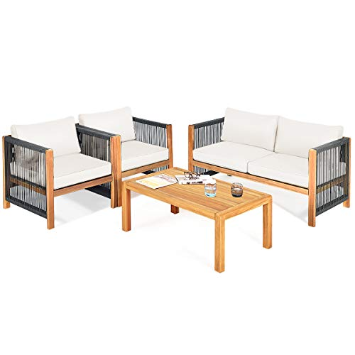 Tangkula Outdoor Wood Furniture Set, Acacia Wood Loveseat Sofa, 2 Single Chairs and Coffee Table, 4 Pieces Conversation Set with Cushions, Garden Balcony Poolside Outdoor Living Set (1, White)