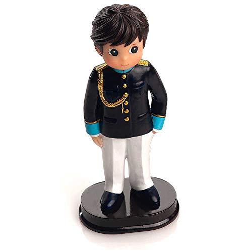 Figura para tarta de Comunión, niño con traje azul claro. Recuerdo de pastel de Primera Comunión chico.