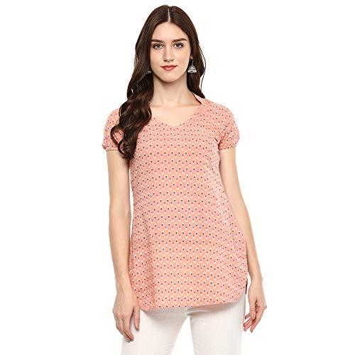 Indian Virasat Peach Colored Cotton Printed Tunic