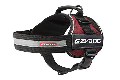 EzyDog Convert Harness - Dog Harness for Small, Medium and Large Dogs, Easy to Fit, Anti Roll Design, Reflective, Magnetic Handle, Comfortable (M, Burgundy)
