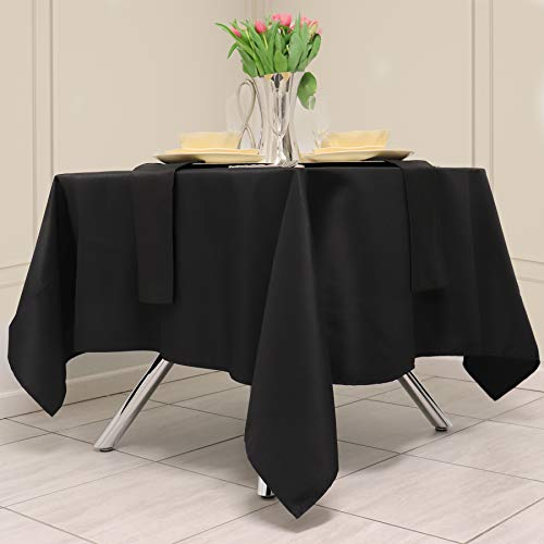 Kadut Square Tablecloth 70 x 70 Inch Black Square Table Cloth for Square or Round Table | Heavy Duty | Washable Tablecloth for Parties, Weddings, Kitchen, Restaurant, Wrinkle-Resistant Table Cover