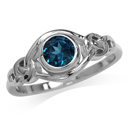 Silvershake Genuine London Blue Topaz White Gold Plated 925 Sterling Silver Celtic Knot Ring Size 9