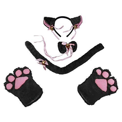 TOYANDONA Katze Cosplay Kostüm Set Kätzchen Schwanz + Ohren Stirnband + Kragen + Pfoten Handschuhe für Kinder (schwarz)