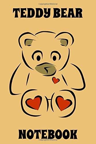 Teddy Bear - Notebook - Hearts - Sandy Brown - Black - College Ruled