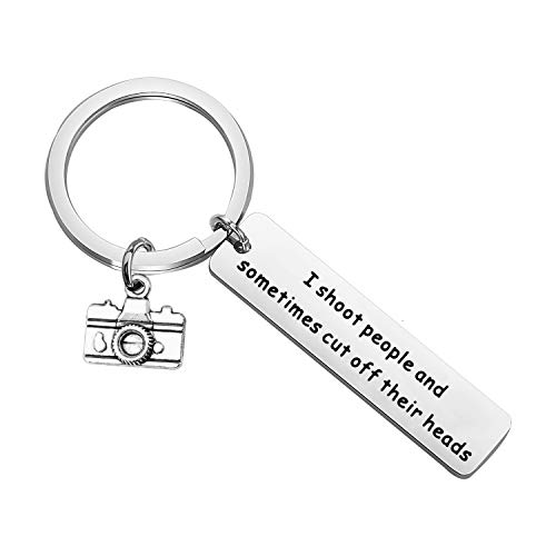 PENQI Photographer Keychain Photography Lovers Gifts I Shoot People and Sometimes Cut Off Their Heads Keychain Camera Jewelry Gift for Photographer (Sliver)