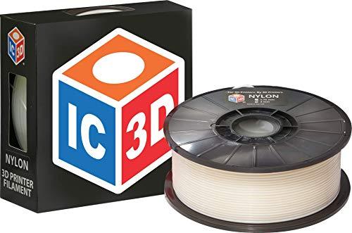 Ic3d Naturel 3mm en nylon imprimante 3d Filament–1kilogram Bobine de filament Impression 3d de qualité professionnelle–Made in USA