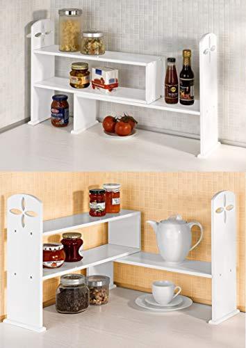 Dekoleidenschaft Küchenregal/Eckregal aus Holz, weiß, variabel stellbar, Spülenregal,...