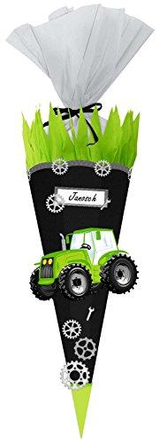 Ursus 9870004 Bastelset Easy Line Schultüte Traktor, sechseckige Zuckertüte 68 cm hoch und oben 20 cm breit zum selber Basteln, aus vorgestanzter 3D-Wellpappe 260 g/qm, für die Einschulung