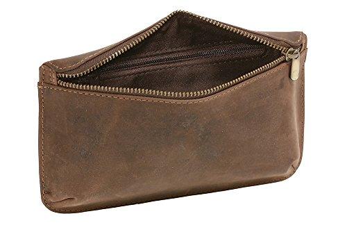 LEAS Bolsa de cinturón escarcela faldriquera faltriquera para señores y señoras Vintage Style, Piel auténtica, marrón Vintage-Collection''
