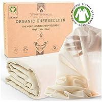 Cheesecloth – algodón orgánico certificado reutilizable para entrenamiento de cocina – superior a nailon o sin blanquear 90 mantequilla muselina (grado fino – corte grande 1,5 m x 1,0 m)