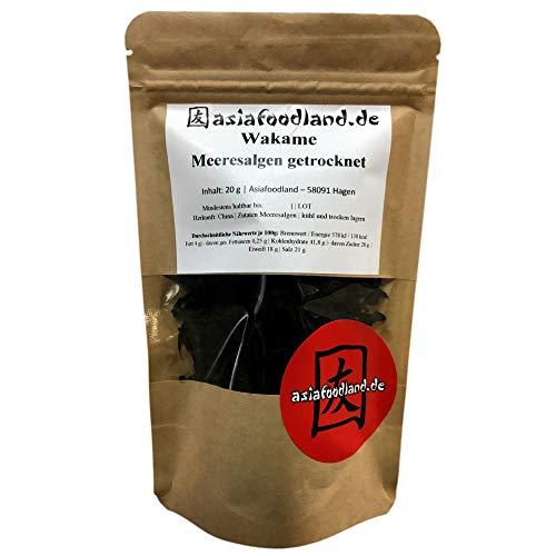 Asiafoodland - Wakame Meeresalgen getrocknet, im praktischen wiederverschließbaren Beutel, 1er Pack (1 x 20 g)