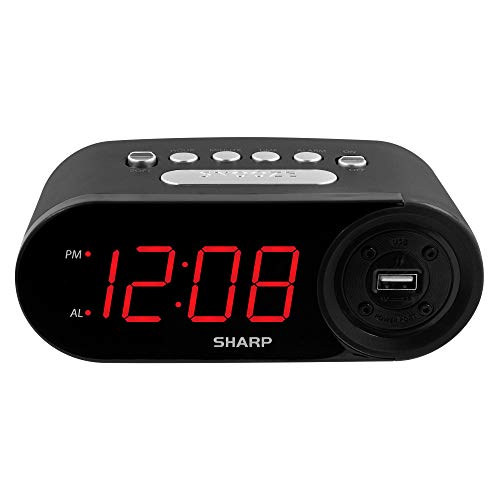 SHARP Digital Easy to Read Alarm Clock with 2 AMP High-Speed USB Charging Power Port - Charge Your Phone, Tablet with a high Speed Charge! Simple, Easy to Use Operation, Midnight Black