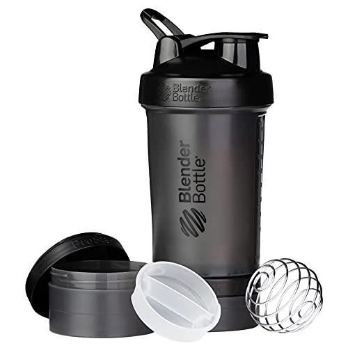 BlenderBottle ProStak Shaker per proteine 650 ml, Nero, 450 ml