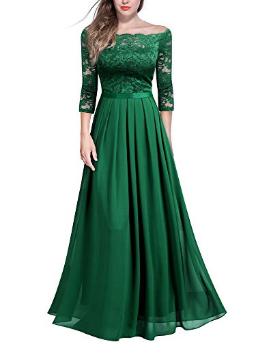 Miusol Women's Vintage Off Shoulder Floral Lace Chiffon Formal Maxi Dress (Medium, Dark Green)