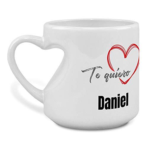 Tazas Blancas Personalizadas con Frase/Nombre. Taza Asa Corazon. Regalos San Valentin Personalizados. Taza San Valentin de Cerámica. Love Amor del Mundo
