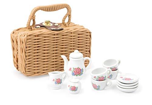 Small Foot 11274 Porzellan-Kaffeeservice im Koffer, 14-TLG. Set, perfekt geeignet für kleine Puppenmamis und DREI ihrer Freunde Spielzeug, Mehrfarbig, Stück (1er Pack)