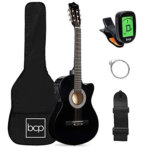 Best Choice Products Beginner Acoustic Electric Guitar Starter Set 38in w/All Wood Cutaway Design, Case, Strap, Picks, Tuner - Black
