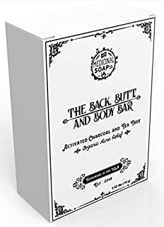 The Medicinal Soap Co. - The Back, Butt, and Body Bar, Activated Charcoal and Tea Tree, Acne, Psoriasis and Eczema Relief,...