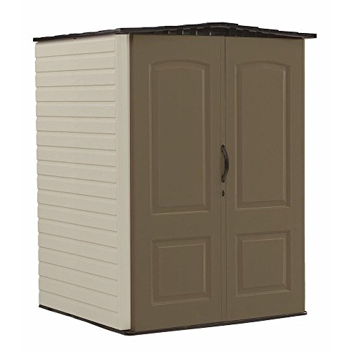 Rubbermaid Medium Vertical Resin Weather Resistant Outdoor Garden Storage Shed, 5x4 Feet, Brown