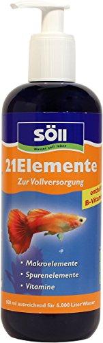 Söll 14009 21Elemente Vitalstoffe für Aquarienfische 500 ml - Fischpflegemittel und Wasseraufbereiter spendet Aquarium Mineralien, Spurenelemente und Vitamine für gesunde Fische und Pflanzen