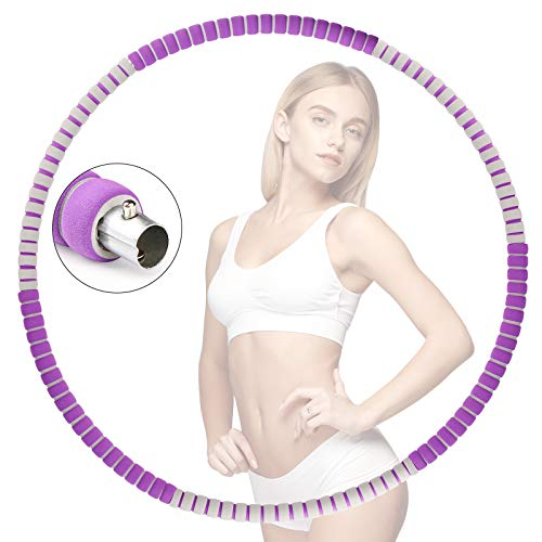 Hula Hoop Reifen, Fitness übung Hula-Hoop Erwachsene zur Gewichtsreduktion und Massage, 6-8 Knotens 1,3 kg Segmente Abnehmbares, Premium Schaumstoff (Lila + Grau)
