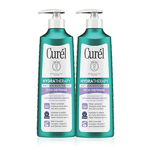 Curél Hydra Therapy, Itch Defense Moisturizer, Wet Skin Lotion, 12 Ounce, with Advanced Ceramide Complex, Vitamin E, & Oatmeal Extract, Helps to Repair Moisture Barrier