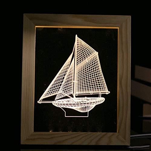 GUOOK 3D Nachtlicht Nachttischlampe Dekoration Nachttisch Bilderrahmen 3D Kreatives Geschenk Licht Weichholz Design