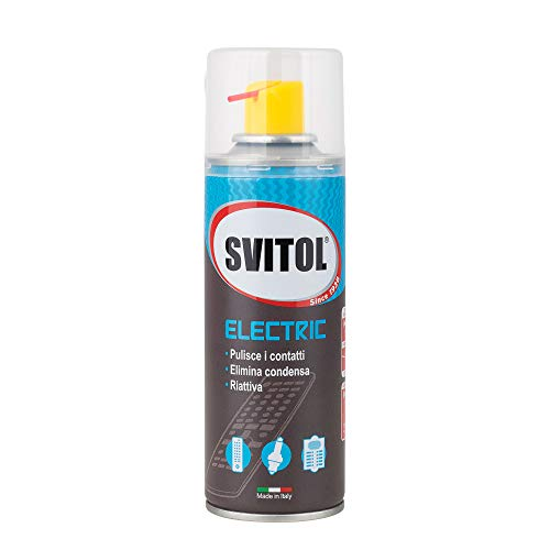SVITOL Lubrificante Spray Electric 200 ml Spray lubrificante erogatore con Cannuccia, riattiva conducibilità elettrica e meccanismi bloccati, Non Isola i contatti, valvola 360°, Made in Italy