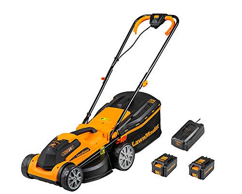LawnMaster Cordless Lawnmower with Battery and Charger, Plus Spare Battery | Lawn Mower with 2 x 24V 4.0Ah for Lawns up to 300m2 | Cordless Mower w. 34cm Cut Width & Rear Roller