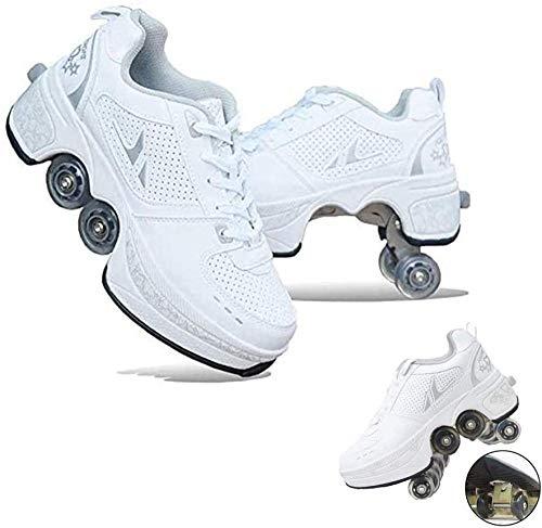 Zapatos Multiusos 2 En 1, Patines para Niños, Patines En Línea Ajustables, Zapatos con Ruedas De Cuatro Ruedas, Zapatos para Caminar Automáticos para Niños Y Niñas,White-32