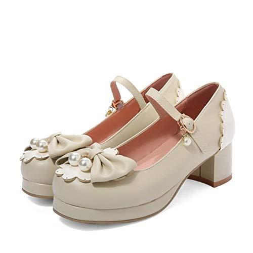 Zapatos de mujer Sweet Lolita tacón grueso Mary Jane Pumps hebilla correa...