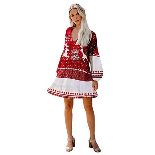Vrouwen Kerstmis Mini Jurk, Dames Lange Mouw Lantaarn Mouw V Nek Kerst Rendier Vintage Avond Party Jurk