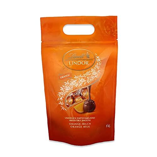 Lindt LINDOR Beutel Orange, Orange-Milch-Schokolade mit zartschmelzender Füllung, Geschenk, Großpackung (ca. 80 Kugeln), 1 kg